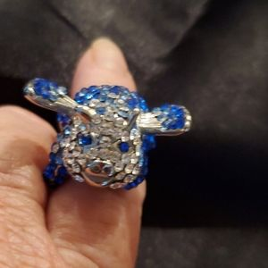 """""""When Pigs Fly"""" Blue & White Crystal Ring"""